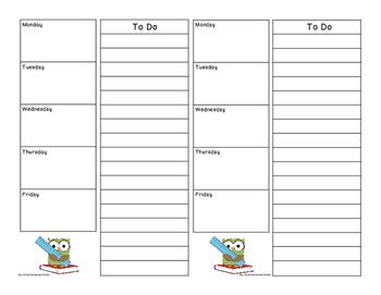 Teacher To Do List Owl
