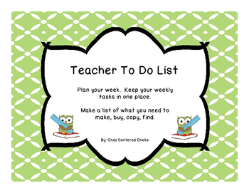 Teacher To Do List Owl