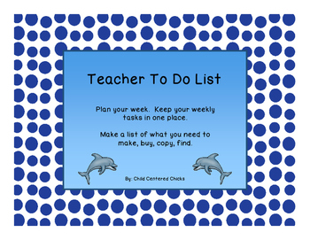 Teacher To Do List Ocean Theme
