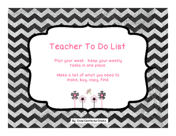 Teacher To Do List Pink and Black Flowers