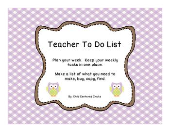 Teacher To Do List Purple and Lime Green Owls
