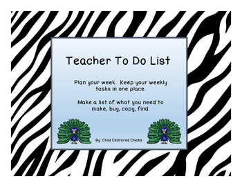Teacher To Do List Zoo Theme Zebra Print
