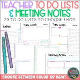 Teacher To Do Lists & Meeting Notes