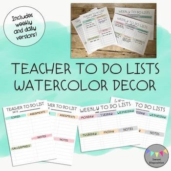 Teacher To Do Lists-Watercolor Decor