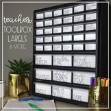 Teacher Tool Box Labels Black and White EDITABLE