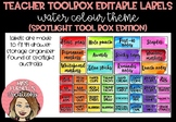 Teacher Tool Box Editable labels - Rainbow Water Colour (S