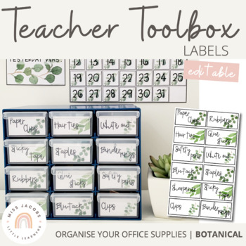 Teacher Tool Box Labels | Botanical Theme