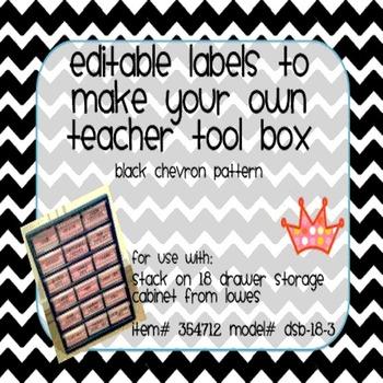 Teacher Tool Box Labels- EDITABLE!- black chevron