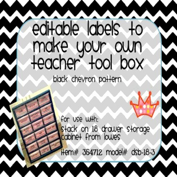 Teacher Tool Box Labels- EDITABLE!- black chevron