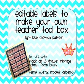 Teacher Tool Box Labels- EDITABLE!- light blue chevron