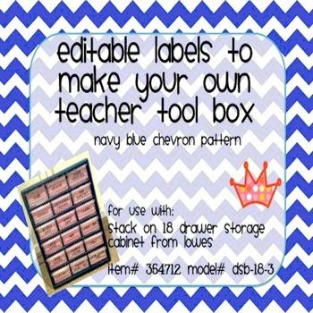 Teacher Tool Box Labels- EDITABLE!- navy blue chevron