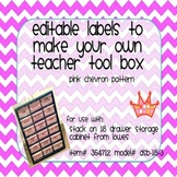 Teacher Tool Box Labels- EDITABLE!- pink chevron