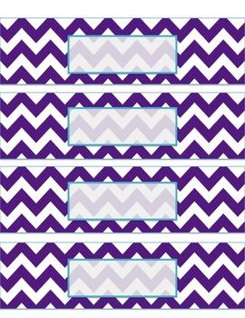 Teacher Tool Box Labels- EDITABLE!- purple chevron