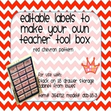 Teacher Tool Box Labels- EDITABLE!- red chevron
