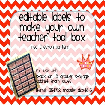 Teacher Tool Box Labels- EDITABLE!- red chevron