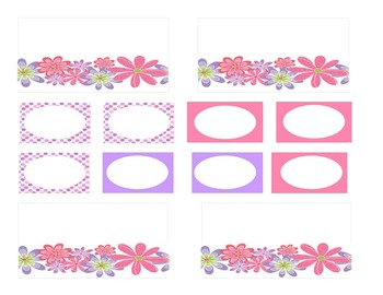 Teacher Tool Box Labels-Pink and Purple Flowers