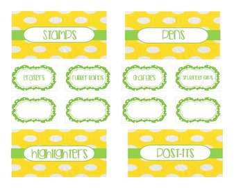 Teacher Tool Box Labels (editable)-Green and Yellow