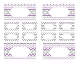 Teacher Tool Box Labels (editable)- Light Purple and Gray Chevrons