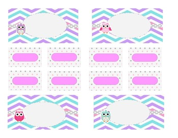 Teacher Tool Box Labels (editable)-Pastel Chevrons and Owls
