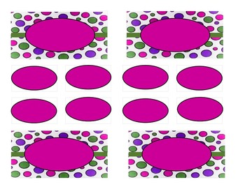 Teacher Tool Box Labels (editable)-Purple Green and Pink Bright dots
