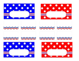 Teacher Tool Box Labels (editable)- Red white and blue with dots
