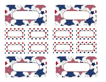 Teacher Tool Box Labels (editable)- Red white and blue with stars