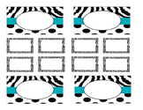 Teacher Tool Box Labels (editable)- Zebra stripes and polka dots