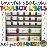 Teacher Tool Box EDITABLE Labels for Teacher Organization