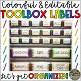 Teacher Tool Box Labels for Teacher Organization {EDITABLE}