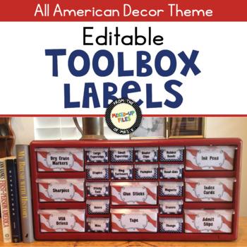 Patriotic Teacher Toolbox Labels