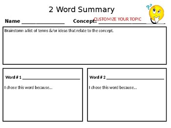Professional Development | Teacher Toolbox: 2-Word Summary Strategy