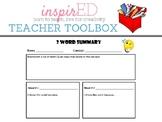 Professional Development | Teacher Toolbox: 2-Word Summary