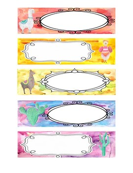 Teacher Toolbox AND Sterilite Drawers-Llama and Watercolor-EDITABLE!