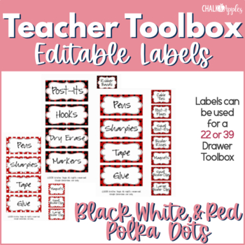 Teacher Toolbox - Black, White, & Red Polka Dots (EDITABLE)