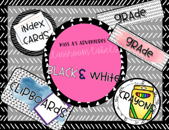 Black and White Theme Supply Labels