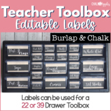 Teacher Toolbox - Burlap & Chalk - Rustic Farmhouse Chic