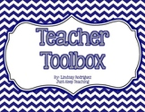 Teacher Toolbox- CHEVRON- EDITABLE- organizing, labels, tools