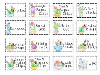 Teacher Toolbox Cactus Labels