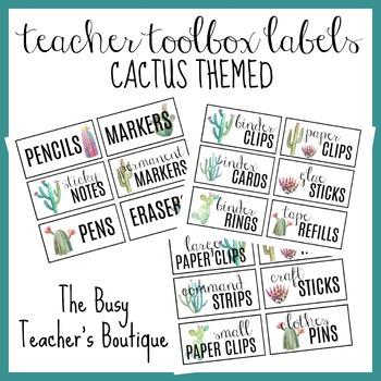 Teacher Toolbox Labels- Cactus Themed EDITABLE
