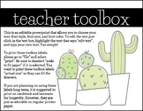 Teacher Toolbox Cactus and Succulent Theme (Pastels)