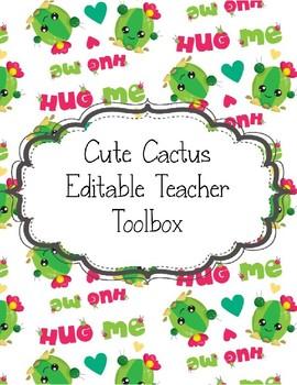 Teacher Toolbox Cute Cactus for a Sharp Looking Classroom EDITABLE