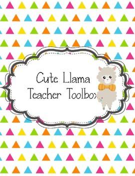 Teacher Toolbox Cute Llama for a Neat Looking Classroom EDITABLE