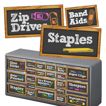 Teacher Toolbox Drawer Labels - BLACK Chalkboard Design Style