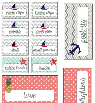 Teacher Toolbox Drawer Labels - Nautical, Ocean, Beach Theme