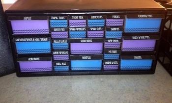 Teacher Toolbox Drawers Black Chevron