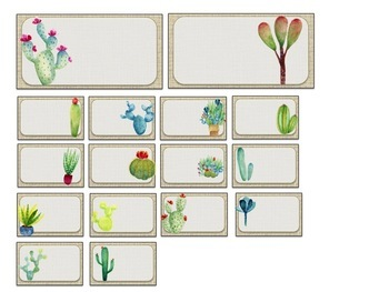 Teacher Toolbox Editable Cactus Theme Labels