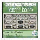 Teacher Toolbox Editable - Farmhouse Watercolor Forest Calm Decor