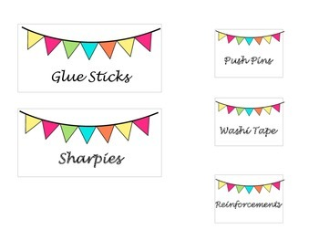 Teacher Toolbox Labels - Multi-color Pennants