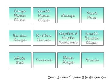 Teacher Toolbox Editable Labels With a Teal Ombre Effect