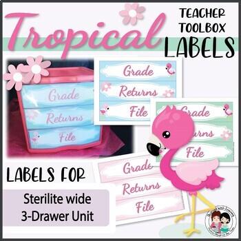 Teacher Toolbox Labels - Editable Flamingo Style